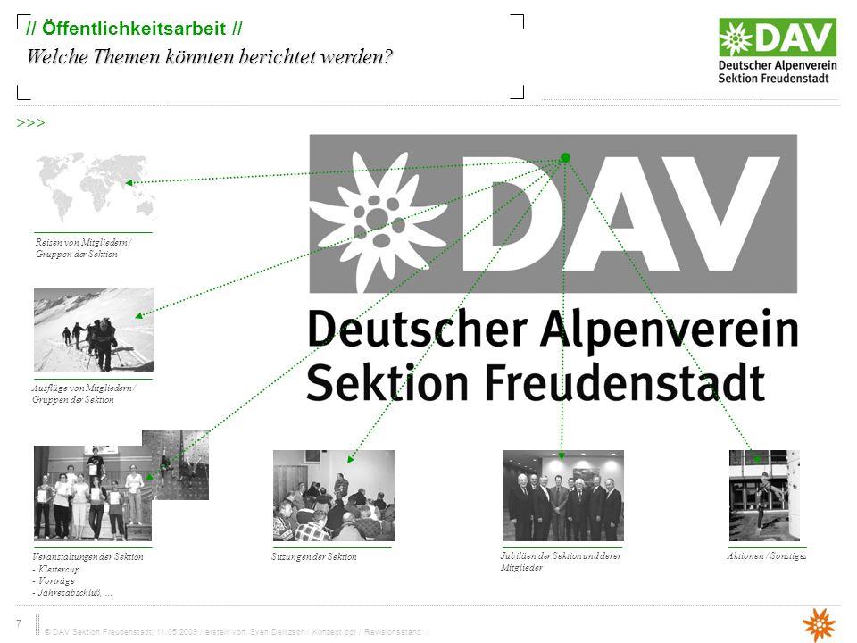 7 © DAV Sektion Freudenstadt, 11.05.2009 / erstellt von: Sven Delitzsch / Konzept.ppt / Revisionsstand: 1 // Öffentlichkeitsarbeit // Welche Themen könnten berichtet werden.