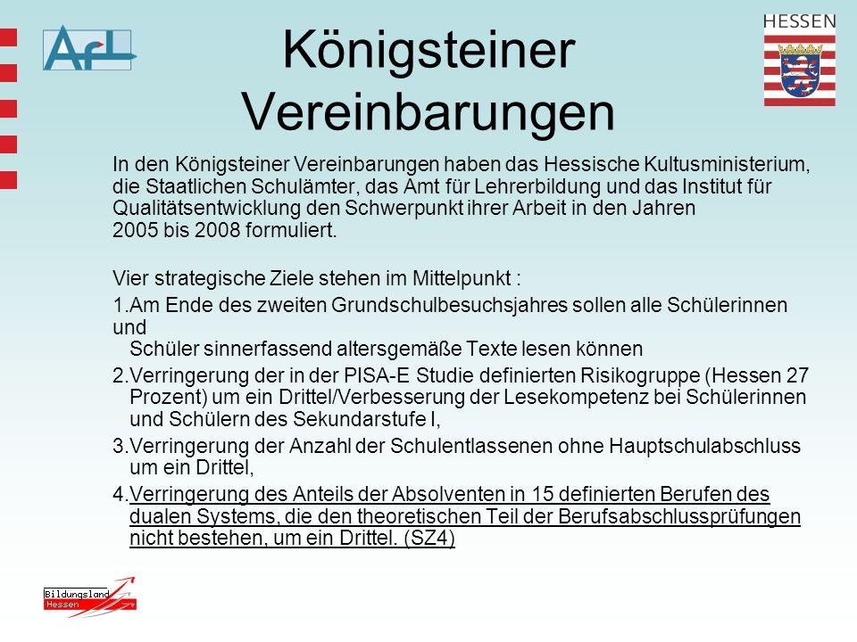 Königsteiner Vereinbarungen In den Königsteiner Vereinbarungen haben das Hessische Kultusministerium, die Staatlichen Schulämter, das Amt für Lehrerbi
