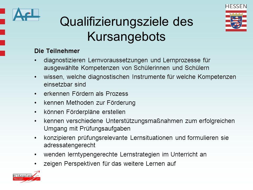Qualifizierungsziele des Kursangebots Die Teilnehmer diagnostizieren Lernvoraussetzungen und Lernprozesse für ausgewählte Kompetenzen von Schülerinnen