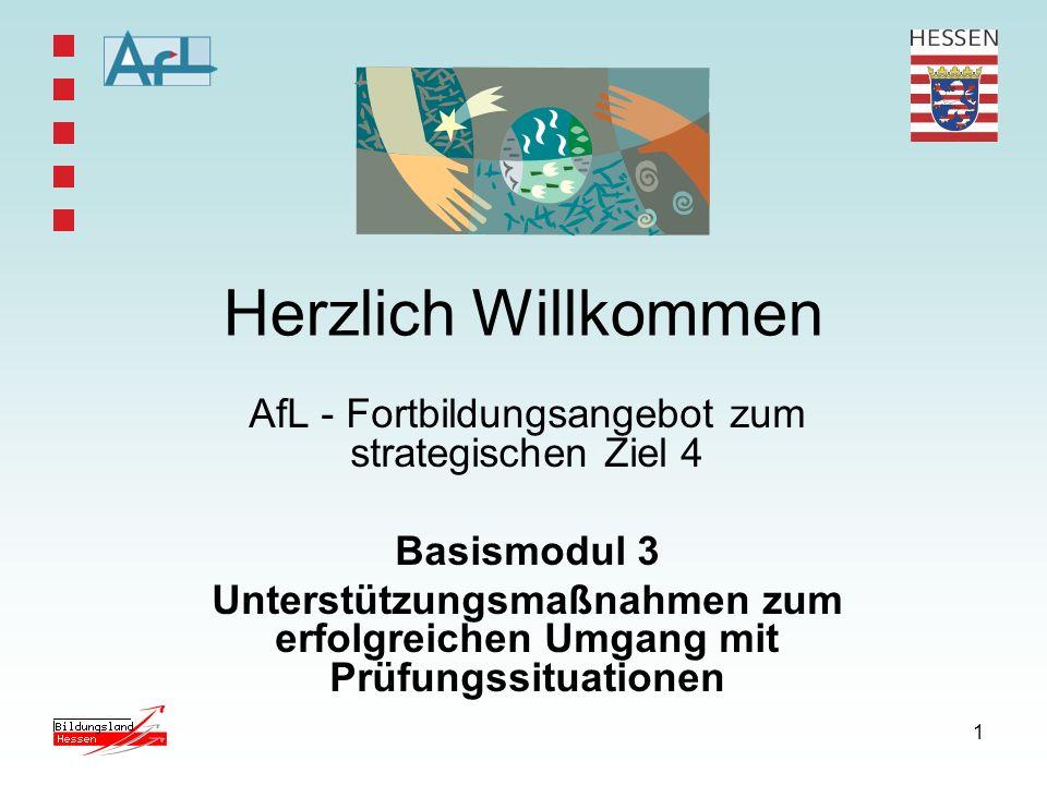1 Herzlich Willkommen AfL - Fortbildungsangebot zum strategischen Ziel 4 Basismodul 3 Unterstützungsmaßnahmen zum erfolgreichen Umgang mit Prüfungssit
