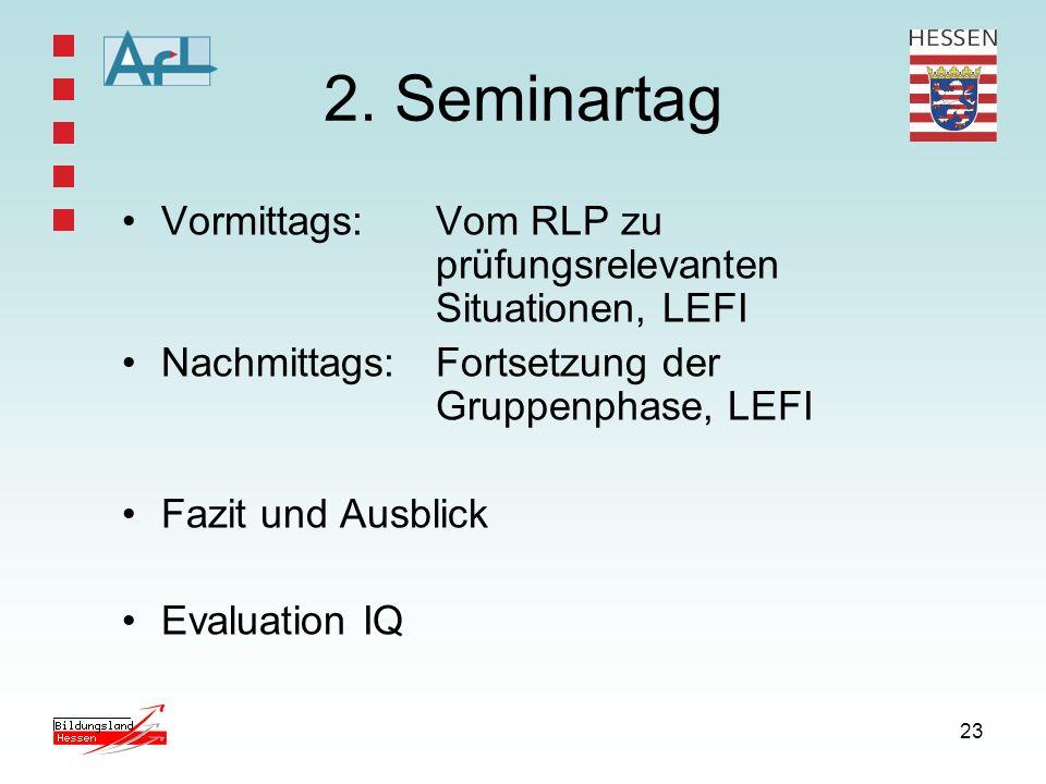 23 2. Seminartag Vormittags: Vom RLP zu prüfungsrelevanten Situationen, LEFI Nachmittags: Fortsetzung der Gruppenphase, LEFI Fazit und Ausblick Evalua