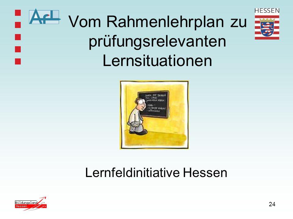 24 Vom Rahmenlehrplan zu prüfungsrelevanten Lernsituationen Lernfeldinitiative Hessen
