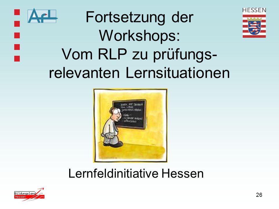 26 Fortsetzung der Workshops: Vom RLP zu prüfungs- relevanten Lernsituationen Lernfeldinitiative Hessen