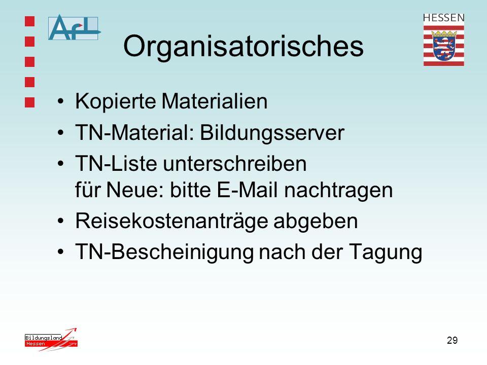29 Organisatorisches Kopierte Materialien TN-Material: Bildungsserver TN-Liste unterschreiben für Neue: bitte E-Mail nachtragen Reisekostenanträge abg
