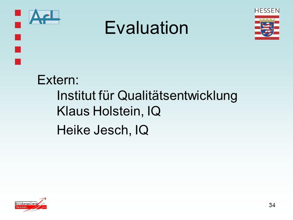 34 Extern: Institut für Qualitätsentwicklung Klaus Holstein, IQ Heike Jesch, IQ Evaluation