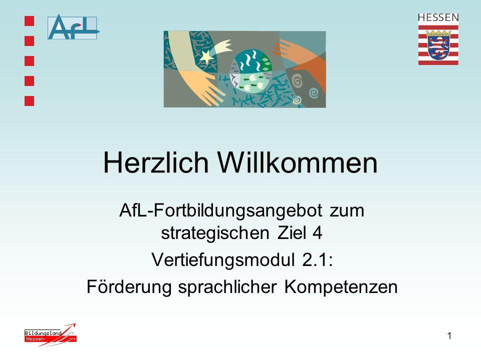 1 Herzlich Willkommen AfL-Fortbildungsangebot zum strategischen Ziel 4 Vertiefungsmodul 2.1: Förderung sprachlicher Kompetenzen