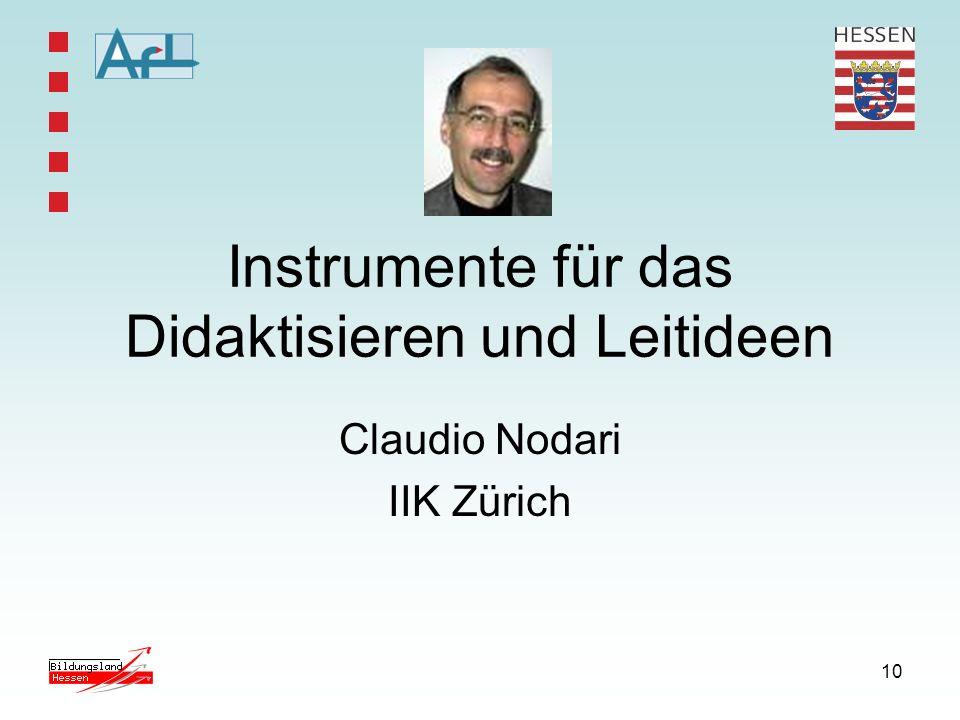 10 Instrumente für das Didaktisieren und Leitideen Claudio Nodari IIK Zürich