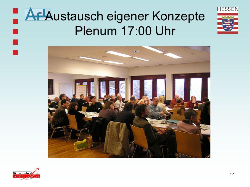 14 Austausch eigener Konzepte Plenum 17:00 Uhr