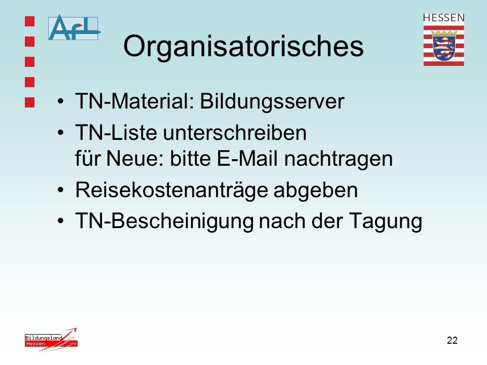 22 Organisatorisches TN-Material: Bildungsserver TN-Liste unterschreiben für Neue: bitte E-Mail nachtragen Reisekostenanträge abgeben TN-Bescheinigung nach der Tagung