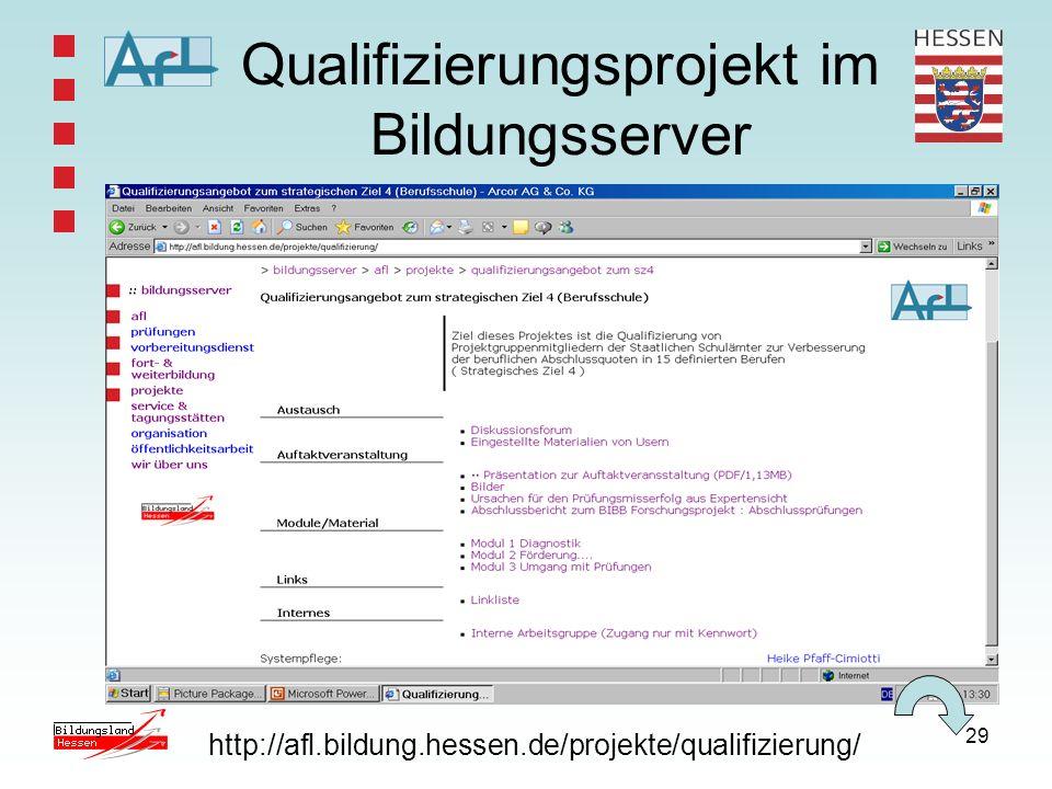 29 Qualifizierungsprojekt im Bildungsserver http://afl.bildung.hessen.de/projekte/qualifizierung/