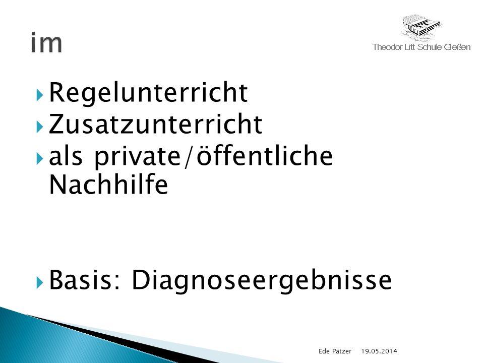 Regelunterricht Zusatzunterricht als private/öffentliche Nachhilfe Basis: Diagnoseergebnisse 19.05.2014Ede Patzer