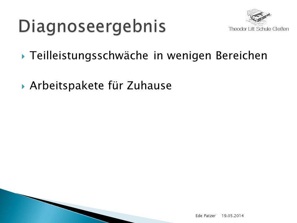 Teilleistungsschwäche in wenigen Bereichen Arbeitspakete für Zuhause 19.05.2014Ede Patzer