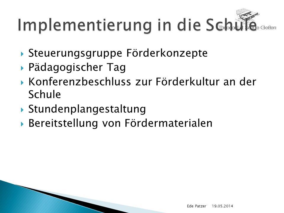 Steuerungsgruppe Förderkonzepte Pädagogischer Tag Konferenzbeschluss zur Förderkultur an der Schule Stundenplangestaltung Bereitstellung von Fördermaterialen 19.05.2014Ede Patzer