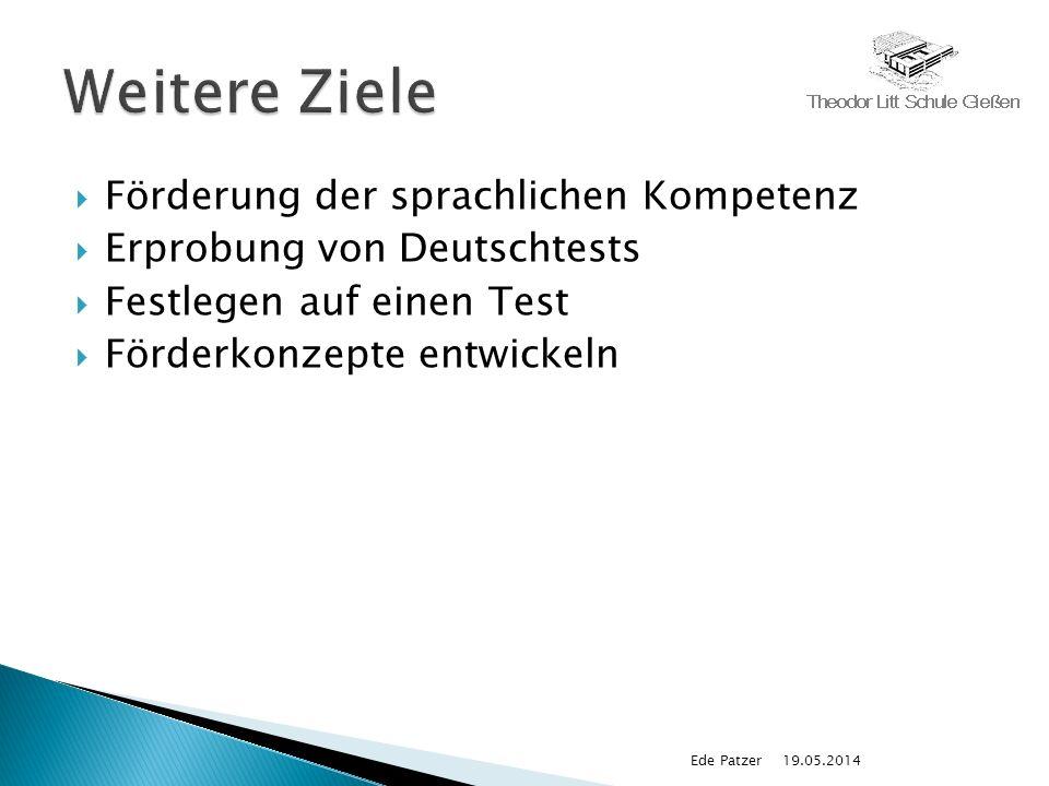 Förderung der sprachlichen Kompetenz Erprobung von Deutschtests Festlegen auf einen Test Förderkonzepte entwickeln 19.05.2014Ede Patzer