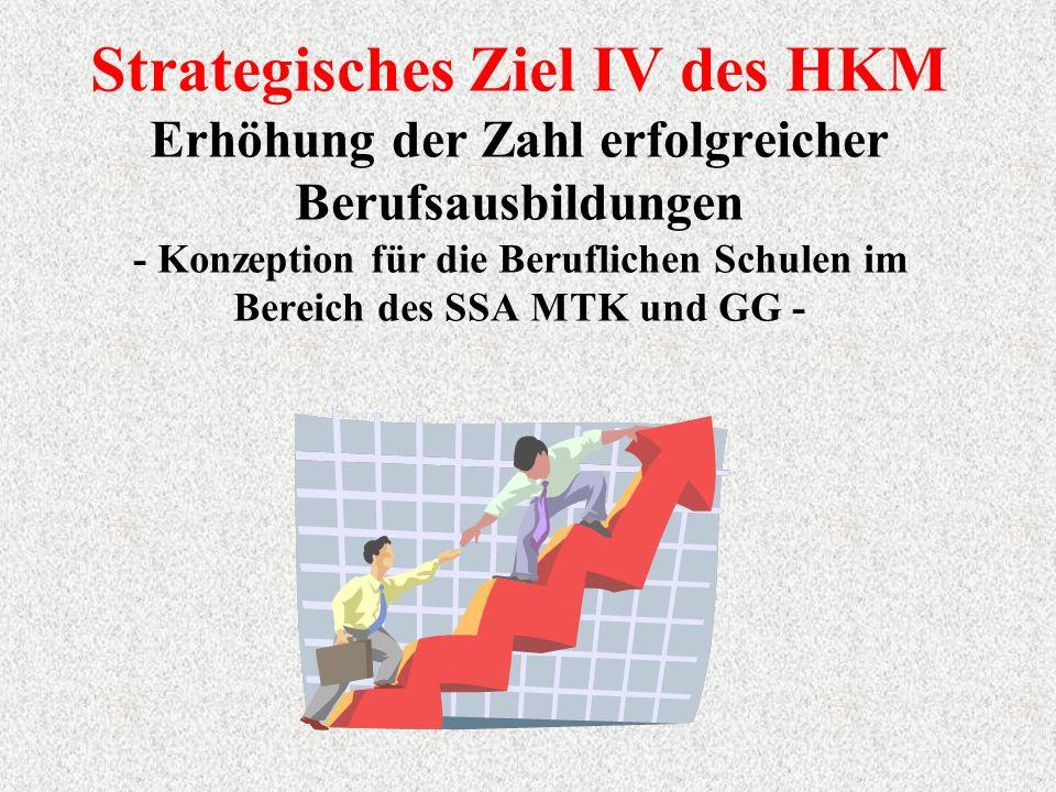 Strategisches Ziel IV des HKM Erhöhung der Zahl erfolgreicher Berufsausbildungen - Konzeption für die Beruflichen Schulen im Bereich des SSA MTK und GG -