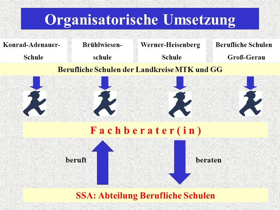 Organisatorische Umsetzung Konrad-Adenauer- Schule Brühlwiesen- schule Werner-Heisenberg Schule Berufliche Schulen Groß-Gerau Berufliche Schulen der Landkreise MTK und GG F a c h b e r a t e r ( i n ) SSA: Abteilung Berufliche Schulen beruftberaten