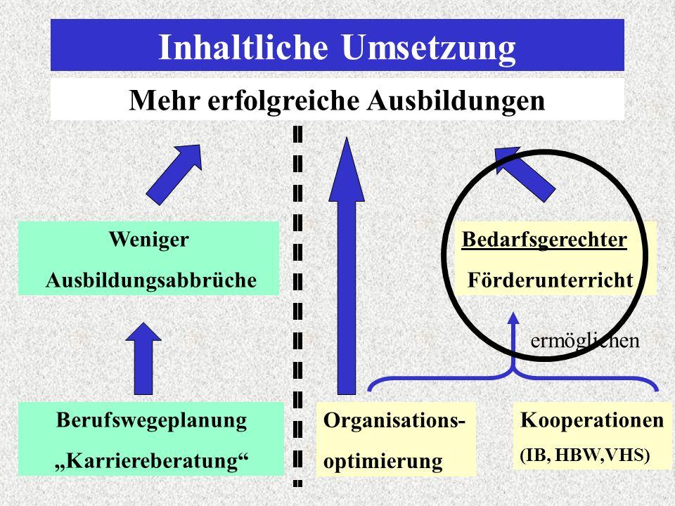 Inhaltliche Umsetzung Mehr erfolgreiche Ausbildungen Berufswegeplanung Karriereberatung Weniger Ausbildungsabbrüche Bedarfsgerechter Förderunterricht Organisations- optimierung ermöglichen Kooperationen (IB, HBW,VHS)