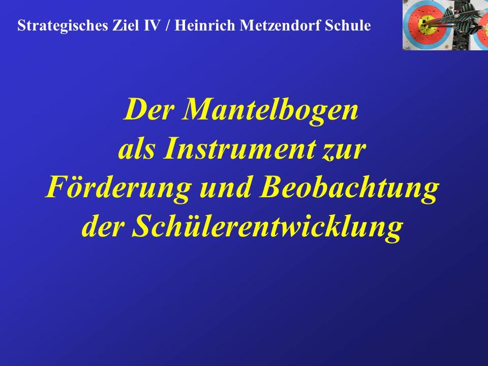 Der Mantelbogen als Instrument zur Förderung und Beobachtung der Schülerentwicklung Strategisches Ziel IV / Heinrich Metzendorf Schule