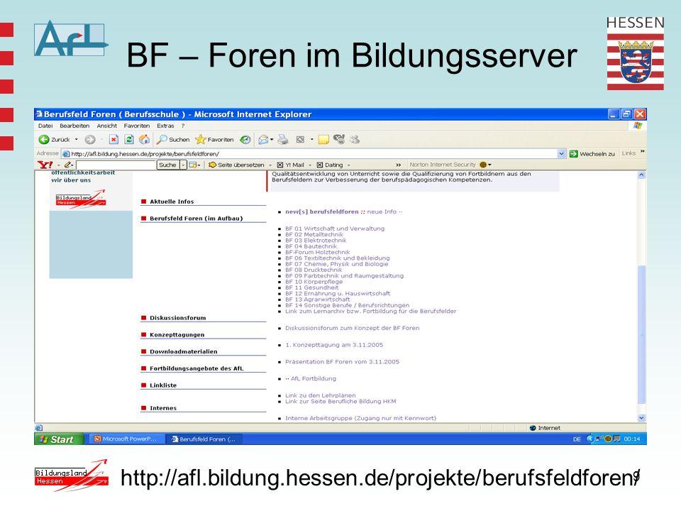 9 BF – Foren im Bildungsserver http://afl.bildung.hessen.de/projekte/berufsfeldforen/