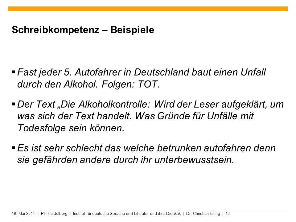 19. Mai 2014 | PH Heidelberg | Institut für deutsche Sprache und Literatur und ihre Didaktik | Dr. Christian Efing | 13 Schreibkompetenz – Beispiele F