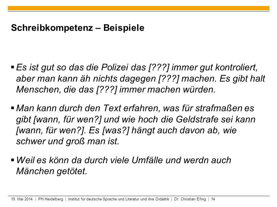 19. Mai 2014 | PH Heidelberg | Institut für deutsche Sprache und Literatur und ihre Didaktik | Dr. Christian Efing | 14 Schreibkompetenz – Beispiele E