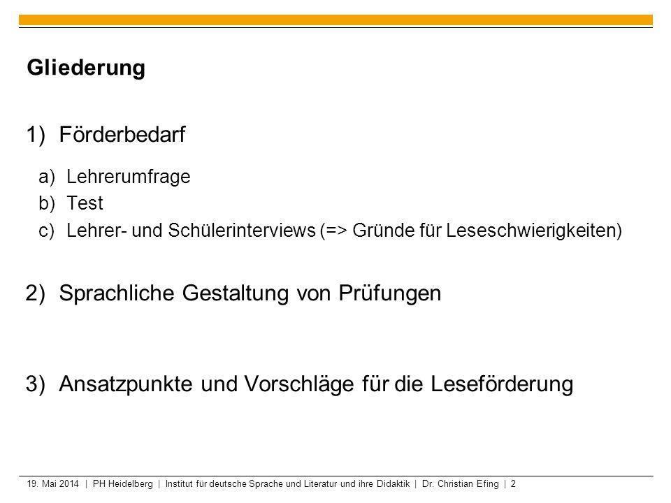 19. Mai 2014 | PH Heidelberg | Institut für deutsche Sprache und Literatur und ihre Didaktik | Dr. Christian Efing | 2 Gliederung Förderbedarf Lehreru