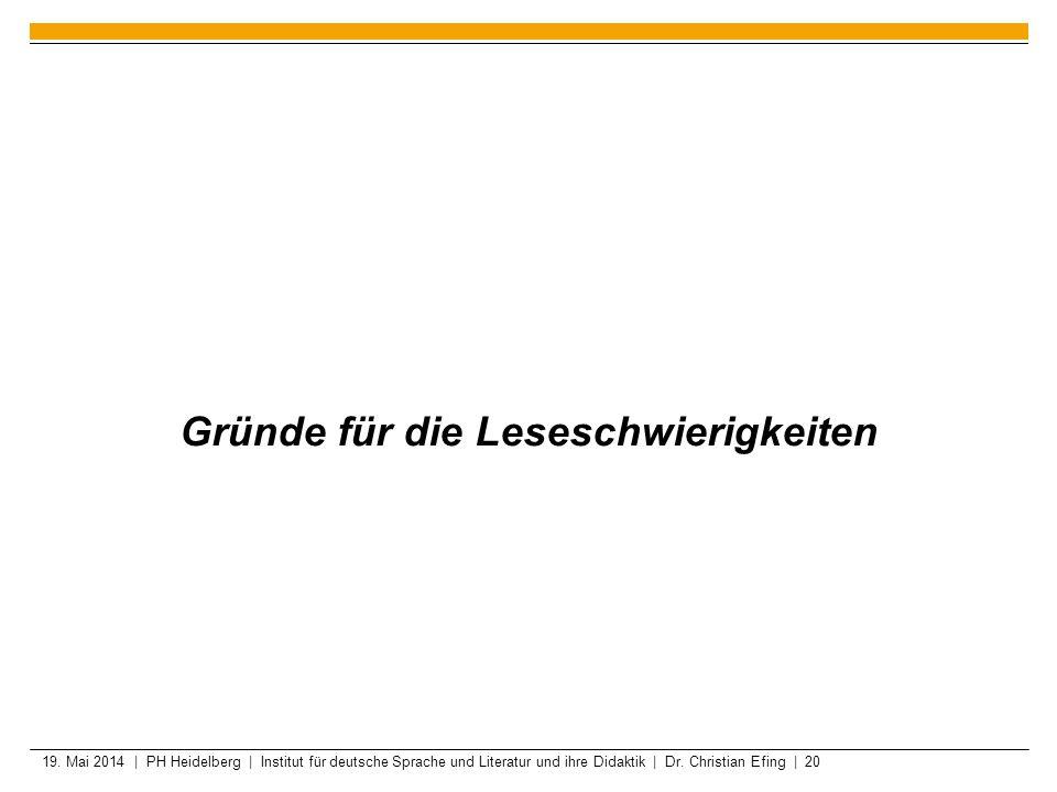 19. Mai 2014 | PH Heidelberg | Institut für deutsche Sprache und Literatur und ihre Didaktik | Dr. Christian Efing | 20 Gründe für die Leseschwierigke