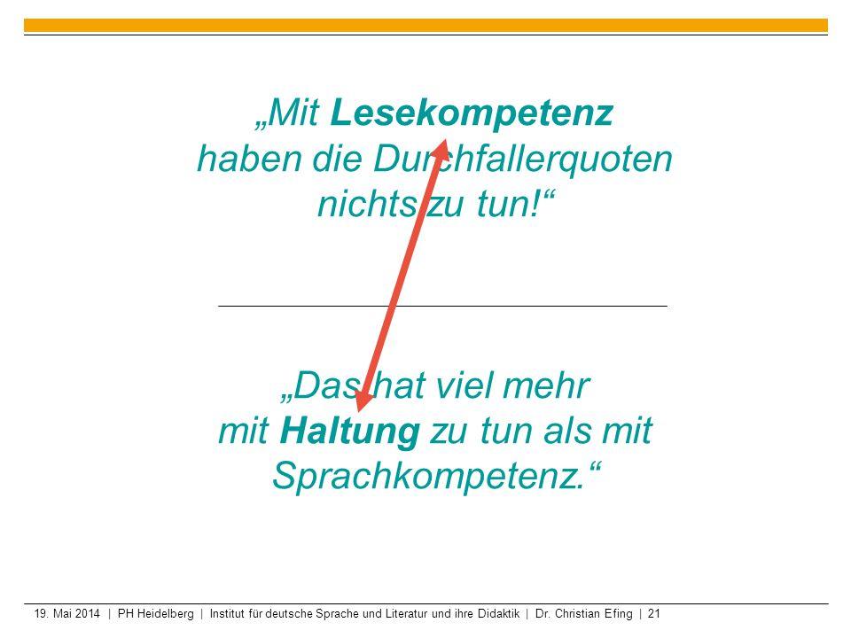 19. Mai 2014 | PH Heidelberg | Institut für deutsche Sprache und Literatur und ihre Didaktik | Dr. Christian Efing | 21 Mit Lesekompetenz haben die Du