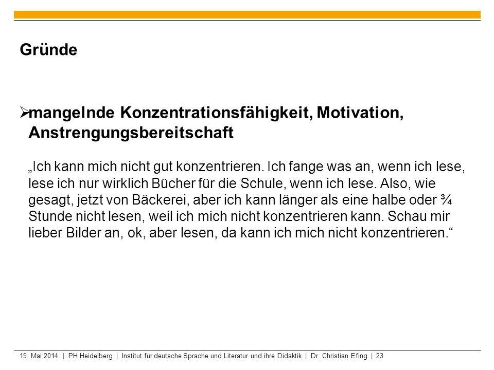 19. Mai 2014 | PH Heidelberg | Institut für deutsche Sprache und Literatur und ihre Didaktik | Dr. Christian Efing | 23 Gründe mangelnde Konzentration