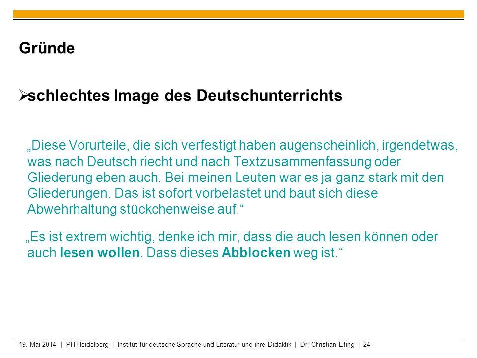 19. Mai 2014 | PH Heidelberg | Institut für deutsche Sprache und Literatur und ihre Didaktik | Dr. Christian Efing | 24 Gründe schlechtes Image des De