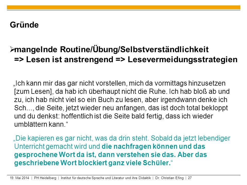 19. Mai 2014 | PH Heidelberg | Institut für deutsche Sprache und Literatur und ihre Didaktik | Dr. Christian Efing | 27 Gründe mangelnde Routine/Übung