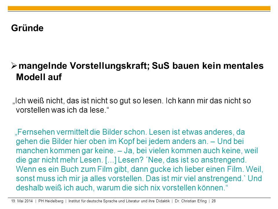 19. Mai 2014 | PH Heidelberg | Institut für deutsche Sprache und Literatur und ihre Didaktik | Dr. Christian Efing | 28 Gründe mangelnde Vorstellungsk