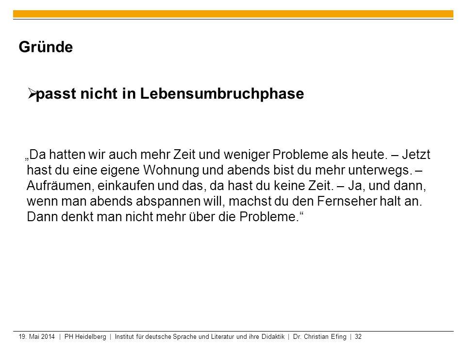 19. Mai 2014 | PH Heidelberg | Institut für deutsche Sprache und Literatur und ihre Didaktik | Dr. Christian Efing | 32 Gründe passt nicht in Lebensum