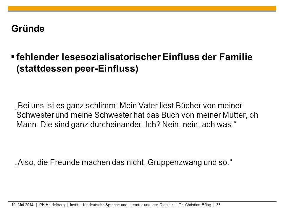 19. Mai 2014 | PH Heidelberg | Institut für deutsche Sprache und Literatur und ihre Didaktik | Dr. Christian Efing | 33 Gründe fehlender lesesozialisa