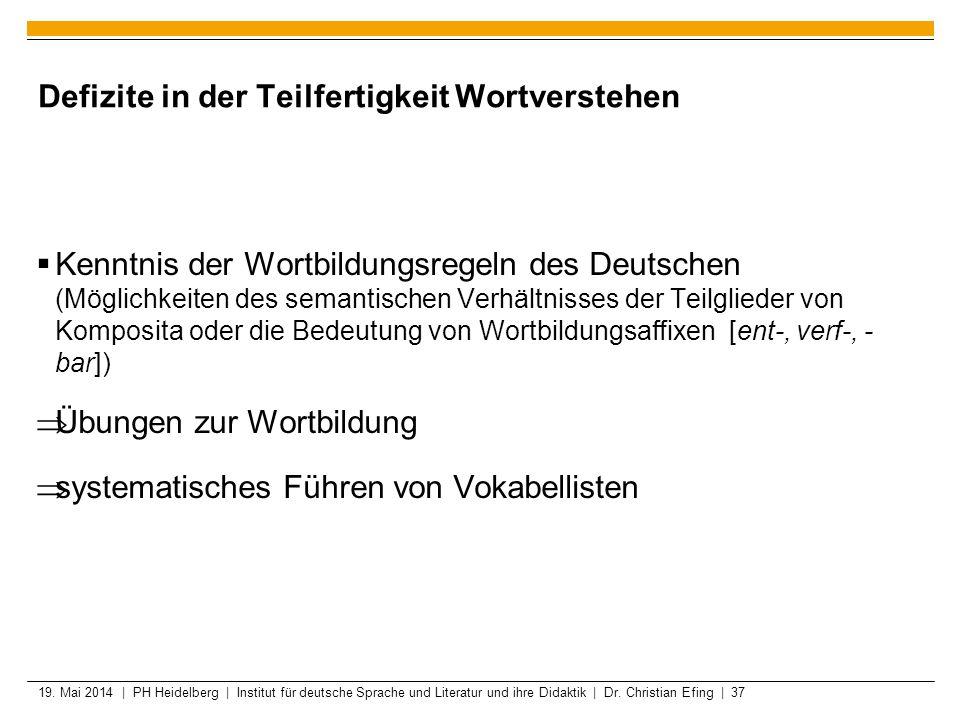 19. Mai 2014 | PH Heidelberg | Institut für deutsche Sprache und Literatur und ihre Didaktik | Dr. Christian Efing | 37 Defizite in der Teilfertigkeit