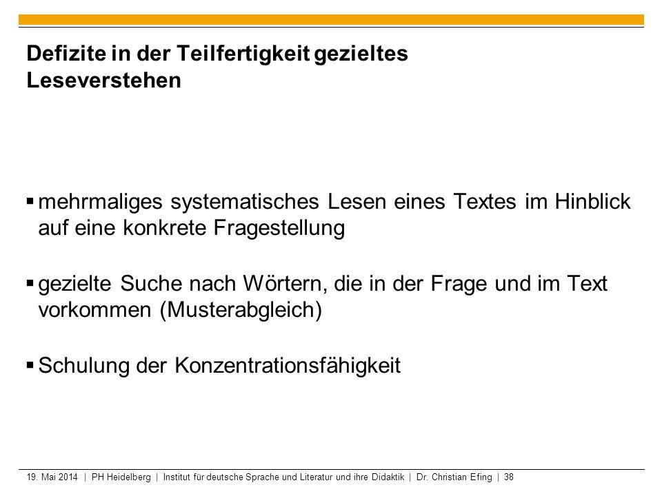 19. Mai 2014 | PH Heidelberg | Institut für deutsche Sprache und Literatur und ihre Didaktik | Dr. Christian Efing | 38 Defizite in der Teilfertigkeit