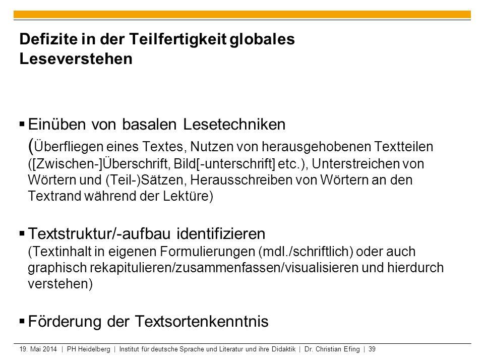 19. Mai 2014 | PH Heidelberg | Institut für deutsche Sprache und Literatur und ihre Didaktik | Dr. Christian Efing | 39 Defizite in der Teilfertigkeit