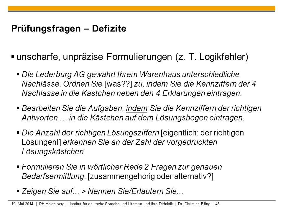 19. Mai 2014 | PH Heidelberg | Institut für deutsche Sprache und Literatur und ihre Didaktik | Dr. Christian Efing | 46 Prüfungsfragen – Defizite unsc