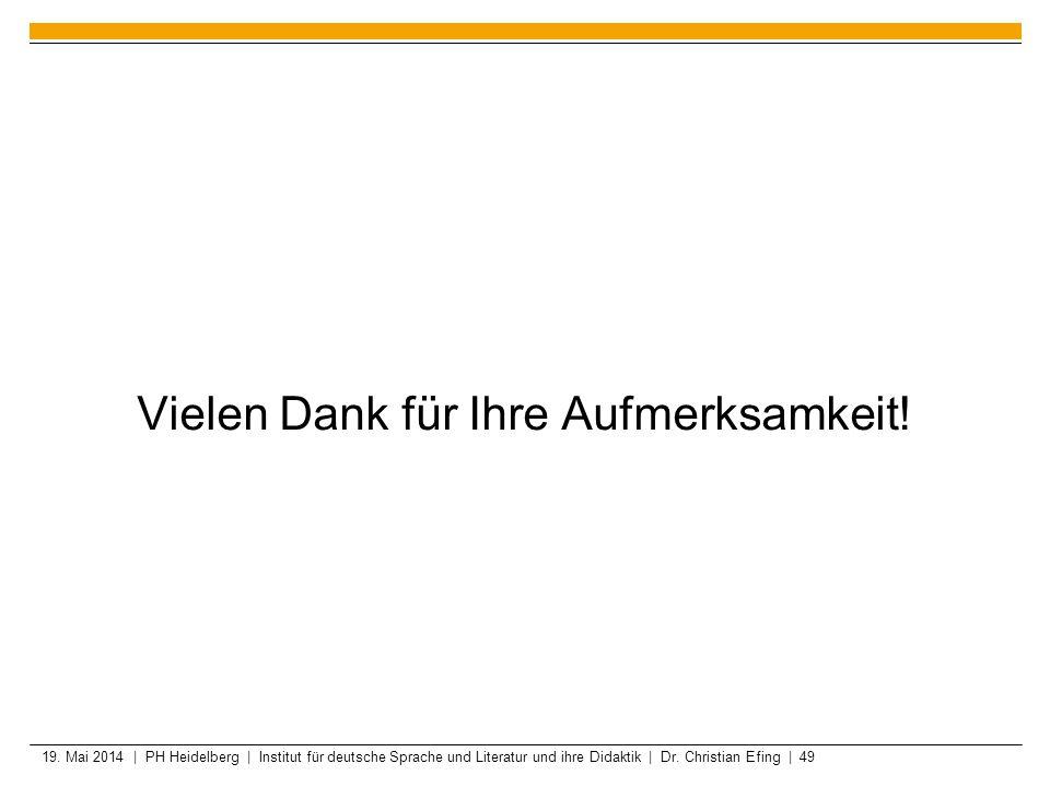 19. Mai 2014 | PH Heidelberg | Institut für deutsche Sprache und Literatur und ihre Didaktik | Dr. Christian Efing | 49 Vielen Dank für Ihre Aufmerksa