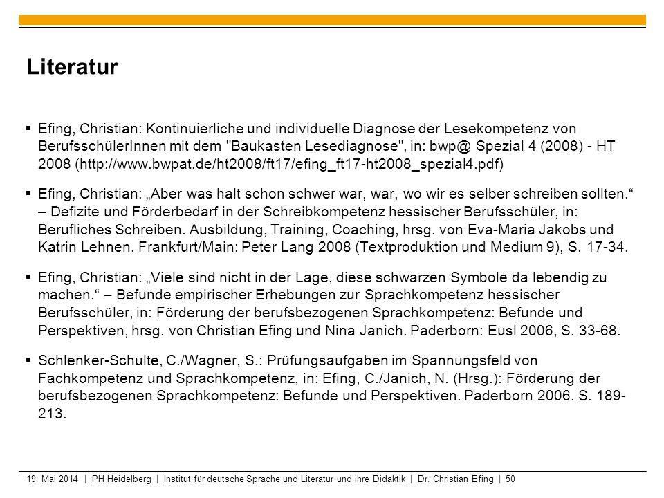 19. Mai 2014 | PH Heidelberg | Institut für deutsche Sprache und Literatur und ihre Didaktik | Dr. Christian Efing | 50 Literatur Efing, Christian: Ko