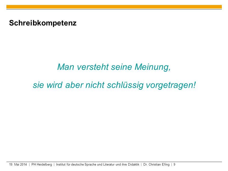 19. Mai 2014 | PH Heidelberg | Institut für deutsche Sprache und Literatur und ihre Didaktik | Dr. Christian Efing | 9 Schreibkompetenz Man versteht s