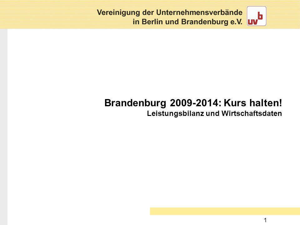 1 Brandenburg 2009-2014: Kurs halten! Leistungsbilanz und Wirtschaftsdaten