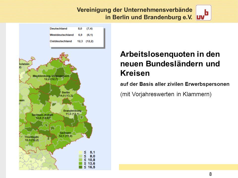 8 Arbeitslosenquoten in den neuen Bundesländern und Kreisen auf der Basis aller zivilen Erwerbspersonen (mit Vorjahreswerten in Klammern)
