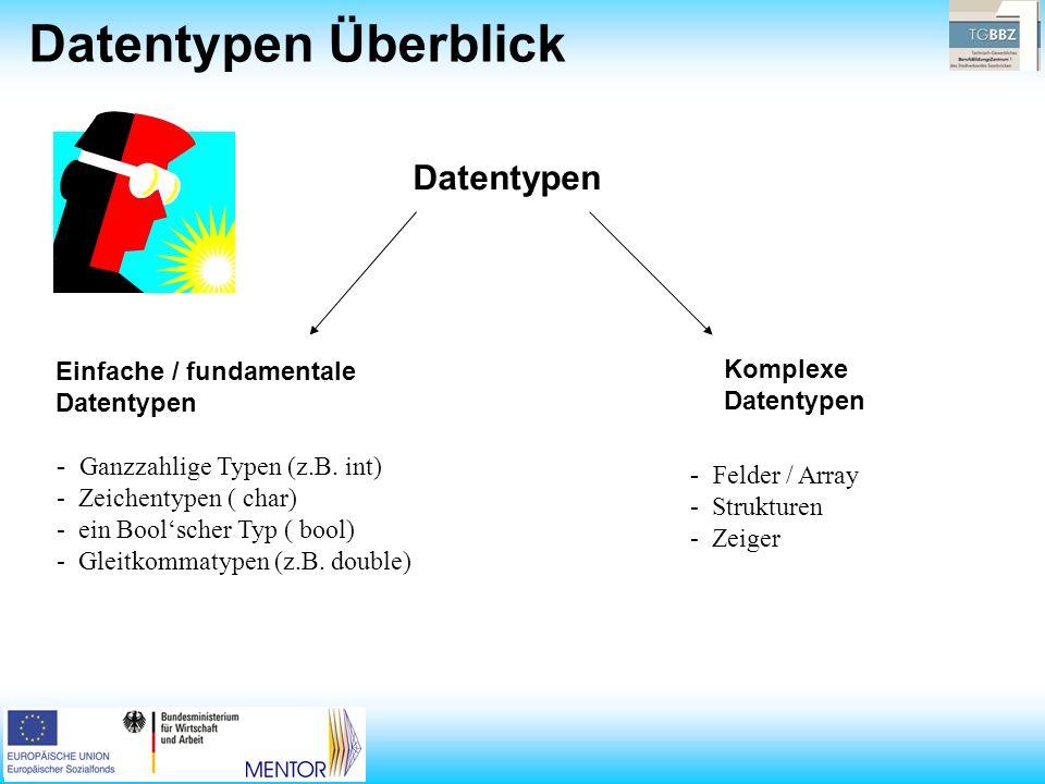 Datentypen Überblick Datentypen Einfache / fundamentale Datentypen Komplexe Datentypen - Ganzzahlige Typen (z.B.