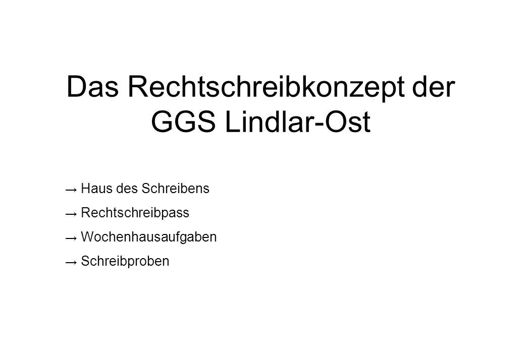 Das Rechtschreibkonzept der GGS Lindlar-Ost Haus des Schreibens Rechtschreibpass Wochenhausaufgaben Schreibproben