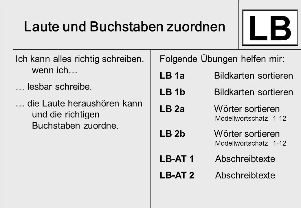 LB 1a Übe folgende Lernstufen: _______ _______ _______ ___ Bildkarten sortieren zestese sch pengkegebe 8 uoiea 4 tsrnmlf 5 erenel 6 renelefete 7 Du brauchst: -Bildkarten LB -Sortiervorlagen LB Ich gebe den Lernbereich an.