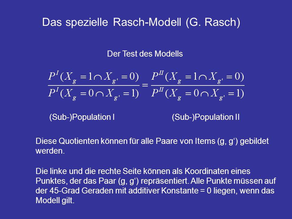 Das spezielle Rasch-Modell (G. Rasch) Der Test des Modells (Sub-)Population I(Sub-)Population II Diese Quotienten können für alle Paare von Items (g,