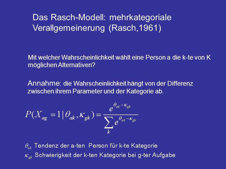 Das Rasch-Modell: mehrkategoriale Verallgemeinerung (Rasch,1961) Mit welcher Wahrscheinlichkeit wählt eine Person a die k-te von K möglichen Alternati
