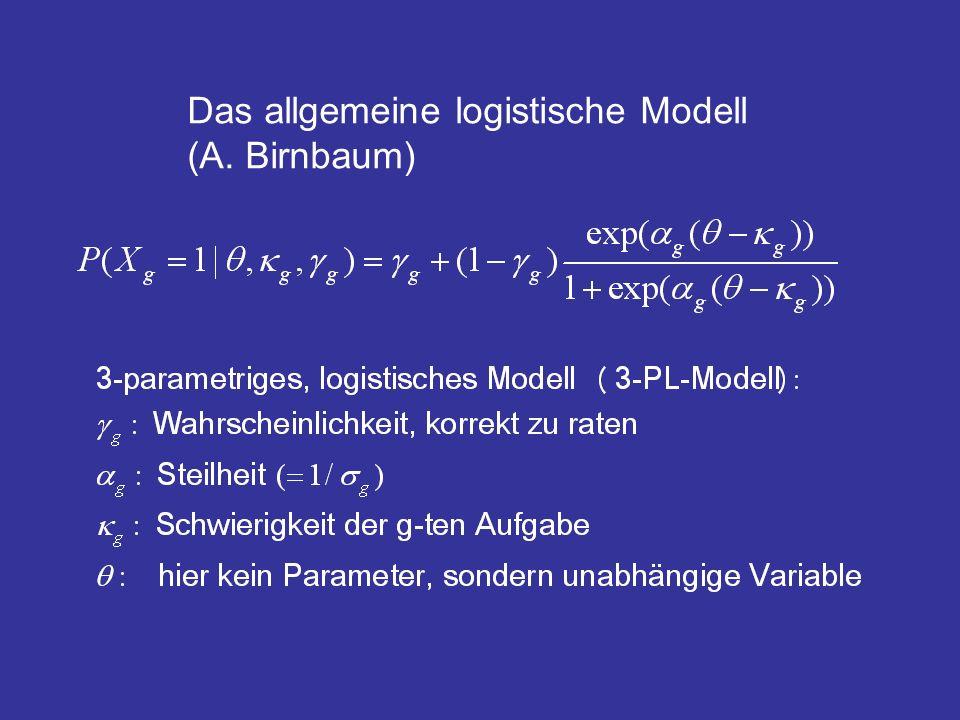 Der Ansatz entspricht dem der logistischen Regression, wobei die Schwierigkeiten unbekannte Parameter sind, die Gewichte werden aufgrund einer Aufgabenanalyse vorgegeben.