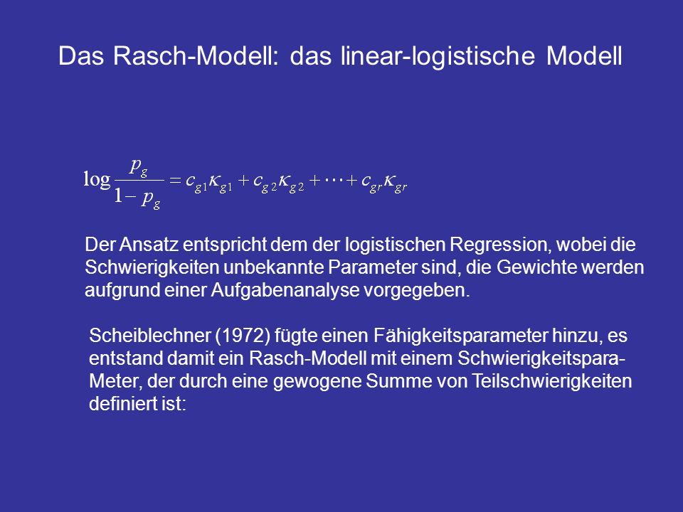 Der Ansatz entspricht dem der logistischen Regression, wobei die Schwierigkeiten unbekannte Parameter sind, die Gewichte werden aufgrund einer Aufgabe